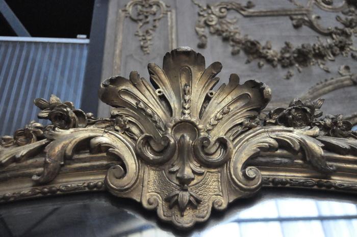 Miroir ancien cadre feuille d or miroir ancien au mercure for Miroir paris 18